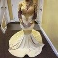 Chegada nova Alta Neck Branco Africano Vestidos de Baile de Manga Longa Pura ver através de rendas de ouro top menina longo sereia prom dress 2017
