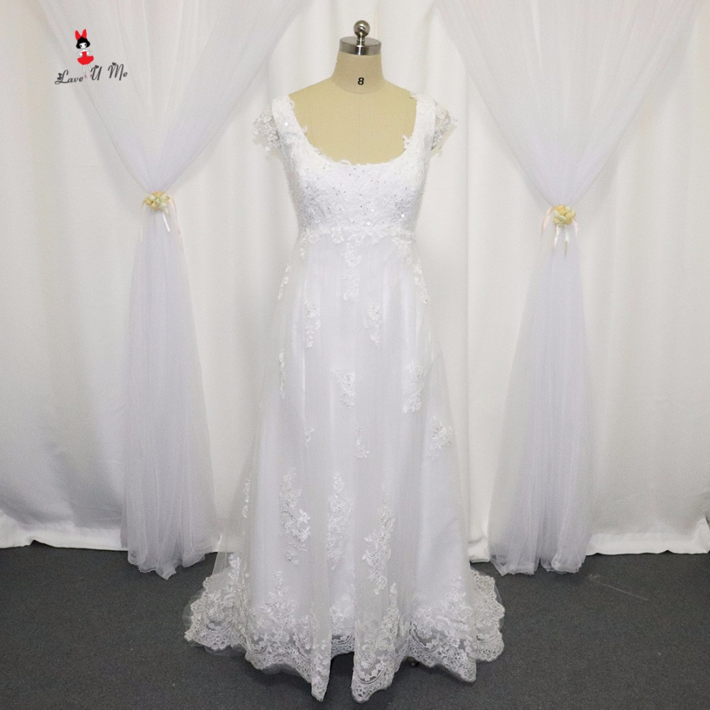 2017 Hot Sell White Empire Maternity Wedding Dress Lace Bridal