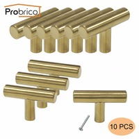 Probrico 10 PCS Gold Stainless Steel Kitchen Cabinet T Bar Knob PS1123HGD Diameter 12mm 50mm Furniture