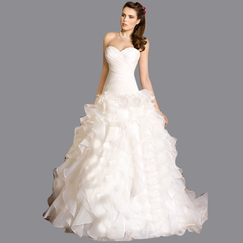 Best Ball Gown Wedding Dresses: 2016 Top Quality Customize Puffy Sweetheart Corset Back