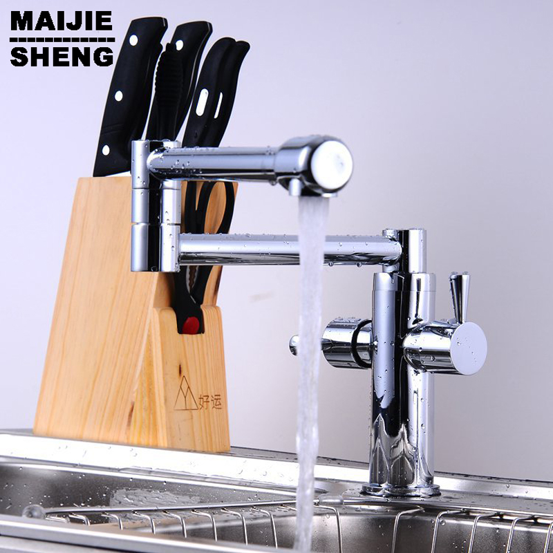 ФОТО whole brass Folding Copper Sink Chrome Wall Kitchen Faucet Kitchen Wall Water Tap Water Tap torneira cozinha grifos cocina