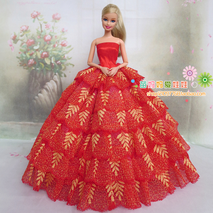 Buy new arrvial high quality elegant red for Barbie wedding dresses for sale