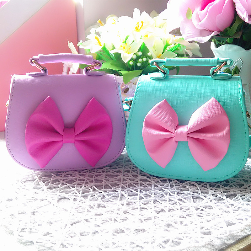 2017 Cute Kids Children Mini Bag PU Leather Bow Shoulder Bags for teenager girls princes ...