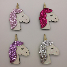 8pcs/Lot 4x6cm Shiny Unicorn Padded Applique Crafts for scrapbooking girls hair accessories bows