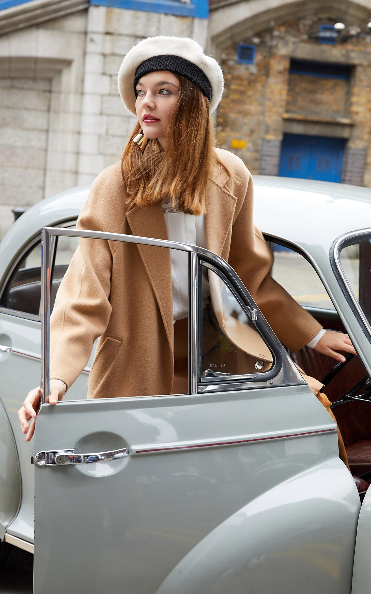 Vero Moda Women's new 100% wool double-sided single buckle minimalist woolen overcoat | 318327505 24