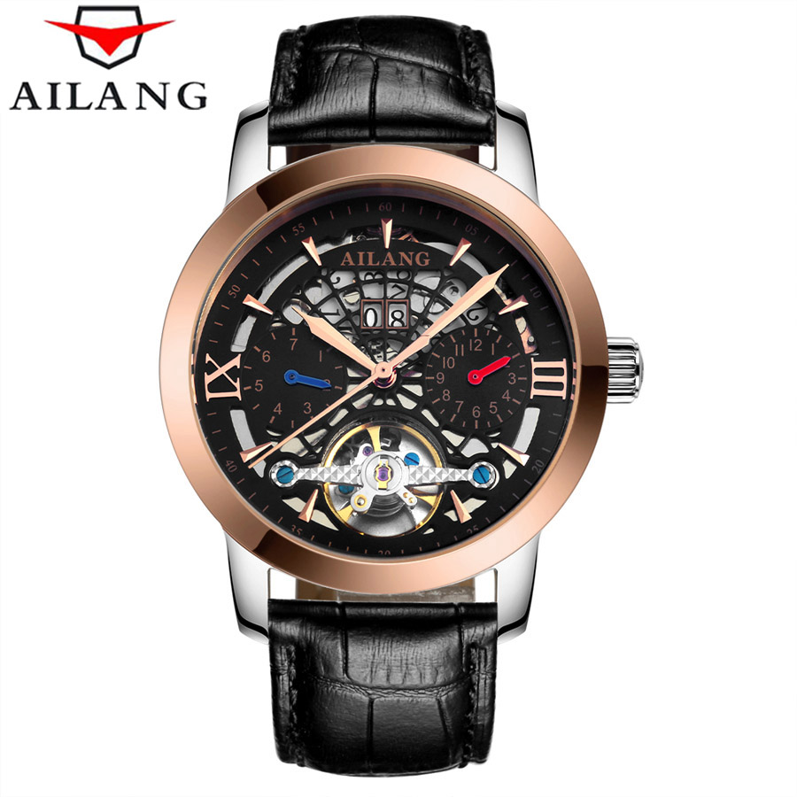 AILANG 2017 Fashion Black Rose Gold Luxury Design Clock Mens Watch Top Brand Luxury Mechanical Skeleton Watch Male Wrist Watch orkina brand clock 2016 new luxury chronograph rose gold case black dial japan movement mens wrist watch cool horloges