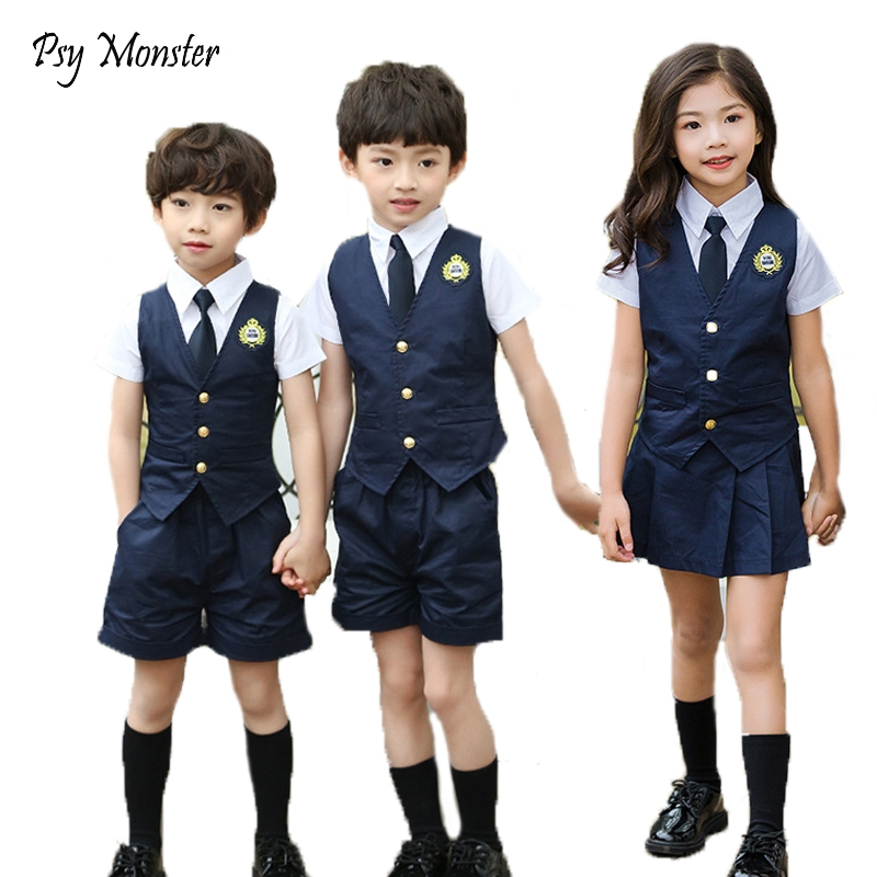 Japanese Student School Uniforms Set Suit for Girls Boys Waistcoat Vest Shirt Skirt Shorts Tie Performance Formal Clothing Set цена