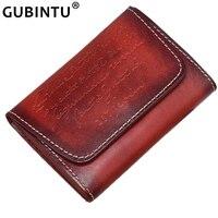 GUBINTU брендовый Кошелек для монет, мужской маленький кошелек из натуральной кожи с мини застежкой, Ретро кошелек с карманом для монет, сумка д...
