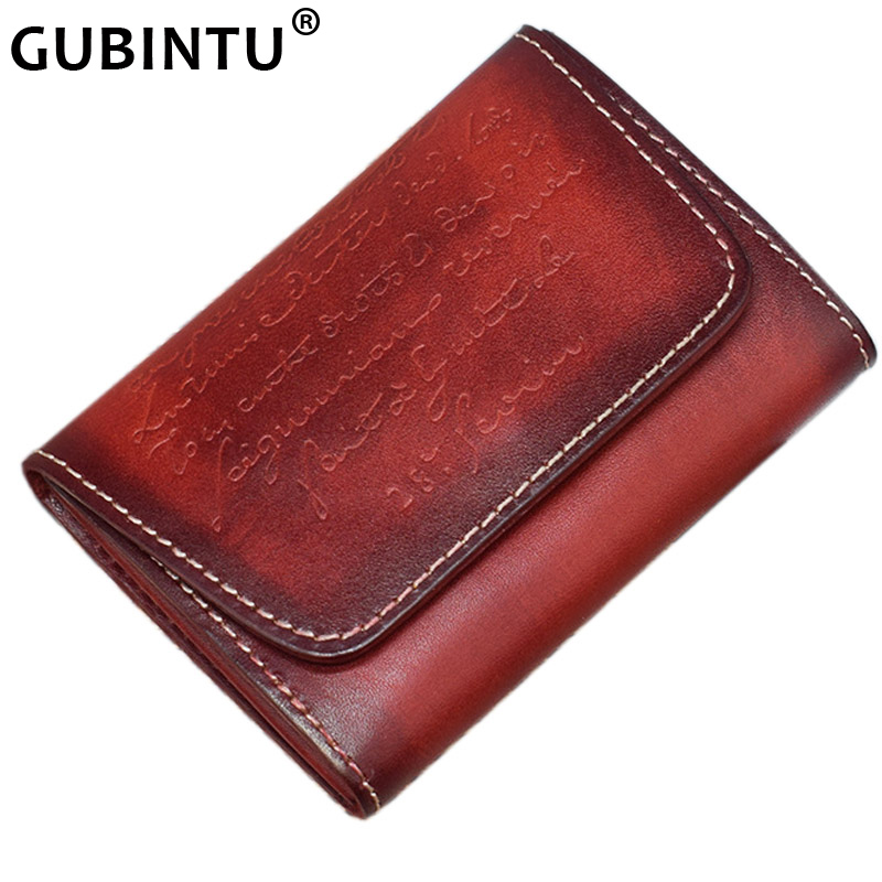 GUBINTU Brand Coin Purse Men Genuine Leather Small Mini Hasp Wallet Retro Coin Pocket Case Storage Bag Card Change Purse Short