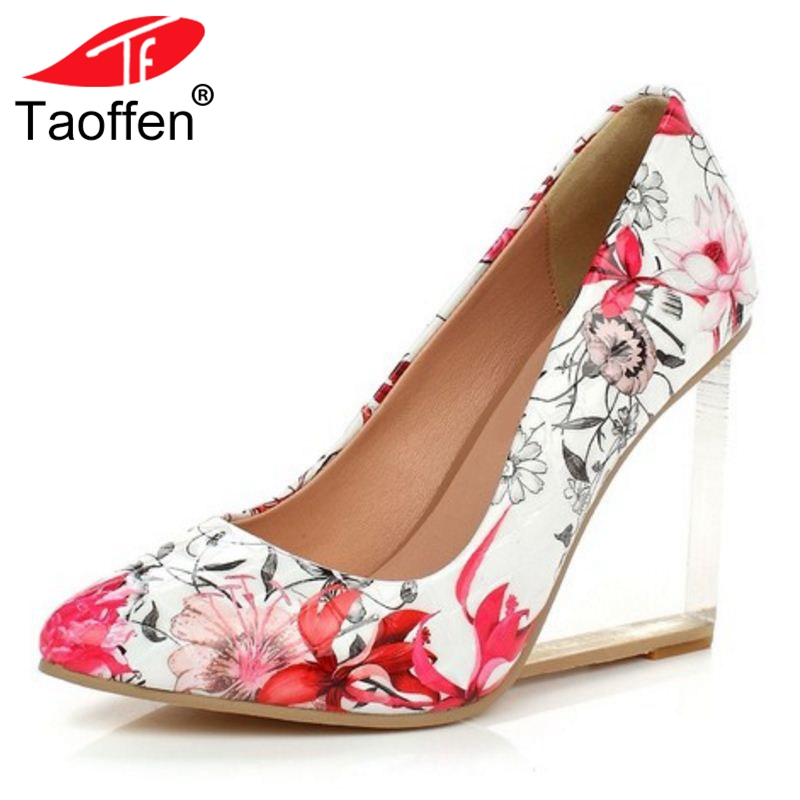где купить TAOFFEN Elegant Women Real Genuine Leather High Heel Sandals Flower Ankle Strap Thick Heel Sandals Summer Shoes Size 33-40 по лучшей цене