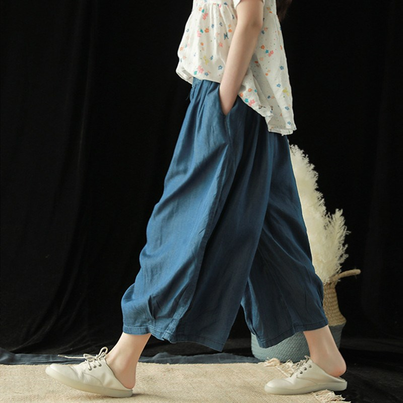 2019 Summer Solid Color Pockets Loose   Pants   Women Vintage Elastic Waist Cotton Linen   Wide     Leg     Pants