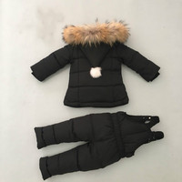 Baby Girl Winter Down Clthing Set Winter Kid Coat with Real Fur Collar Hooded Newbom Lnfant Snow Outwear Coat+overalls Pants