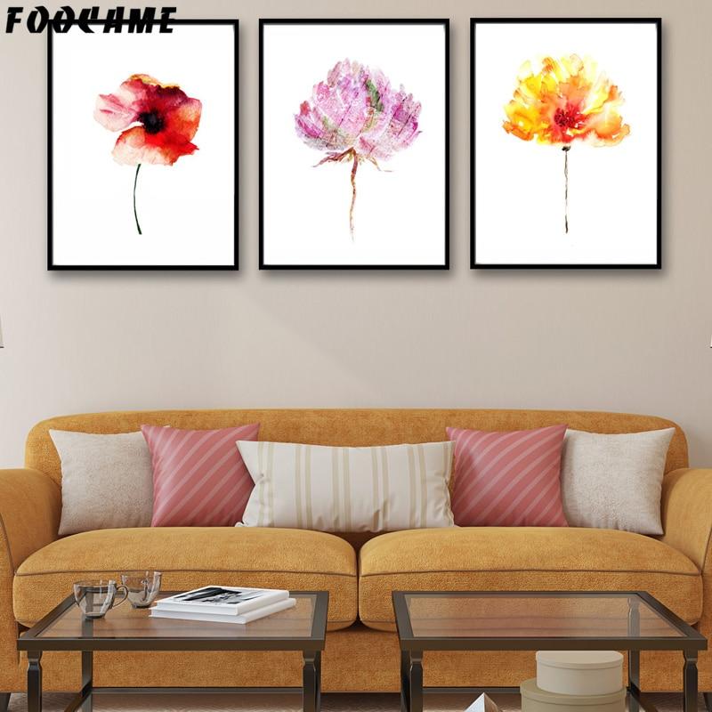 FOOKAME Akvarel bitkisi Çiçək Qırmızı sarı plakatlar və Çap - Ev dekoru - Fotoqrafiya 2
