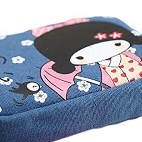 TEXU 5 X Cute Japanese Girl Print Canvas Phone Bag Double Zipper Purse Coin Bag Blue