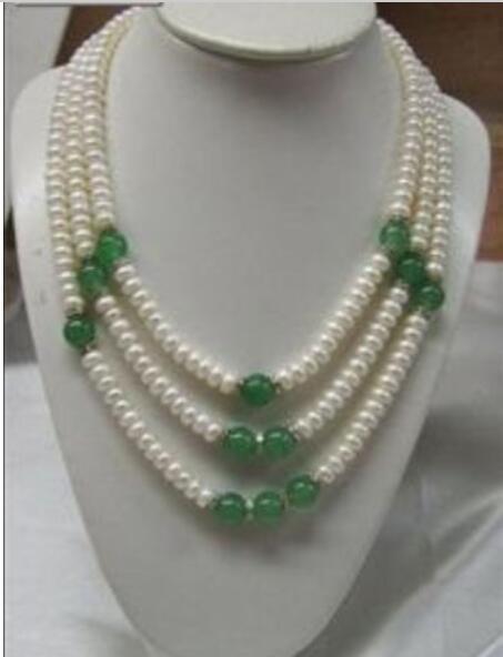 Femmes cadeau eau douce charmant 3 rangées 7-8mm blanc perle vert gemme collier de perles rondes pour 17-19 pouces fabrication de bijoux