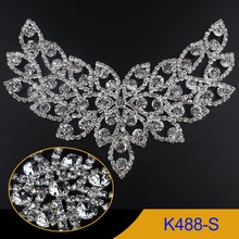 16X9mm Flügel grafik Strassapplikationen 1 stücke Kristall Silber basis verwendung für hochzeitskleid K488-S