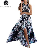 Lily Rosie Girl Women 2017 Black Off Shoulder Floral Summer Beach Party Dress Hollow Out Halter
