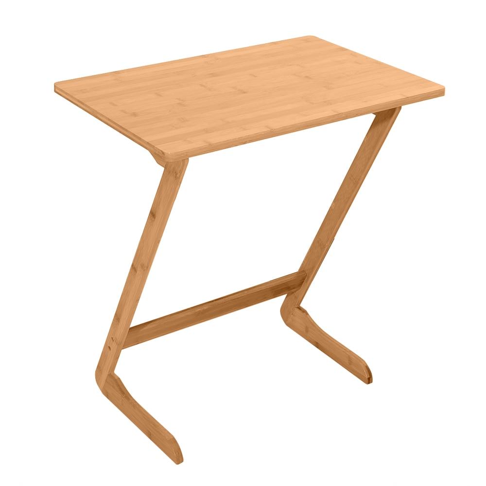 60x40x65 cm Table d'appoint en bambou en forme de Z canapé canapé Table basse Table de chevet Table de collation café pour salon-Stock US