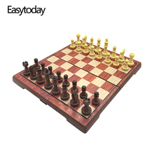 Easytoday Standard Chess Set Plastic Board Magnetic Pieces Table Entertainment Games Gift