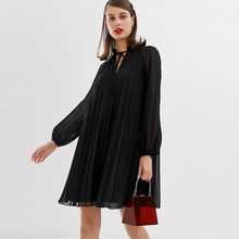 New Compact Commuter Pleated Trapezoidal Wide dress with Bow Tie Dress 2019 O-Neck Puff Sleeve Black Dress Women pinstripe bow tie puff sleeve dress