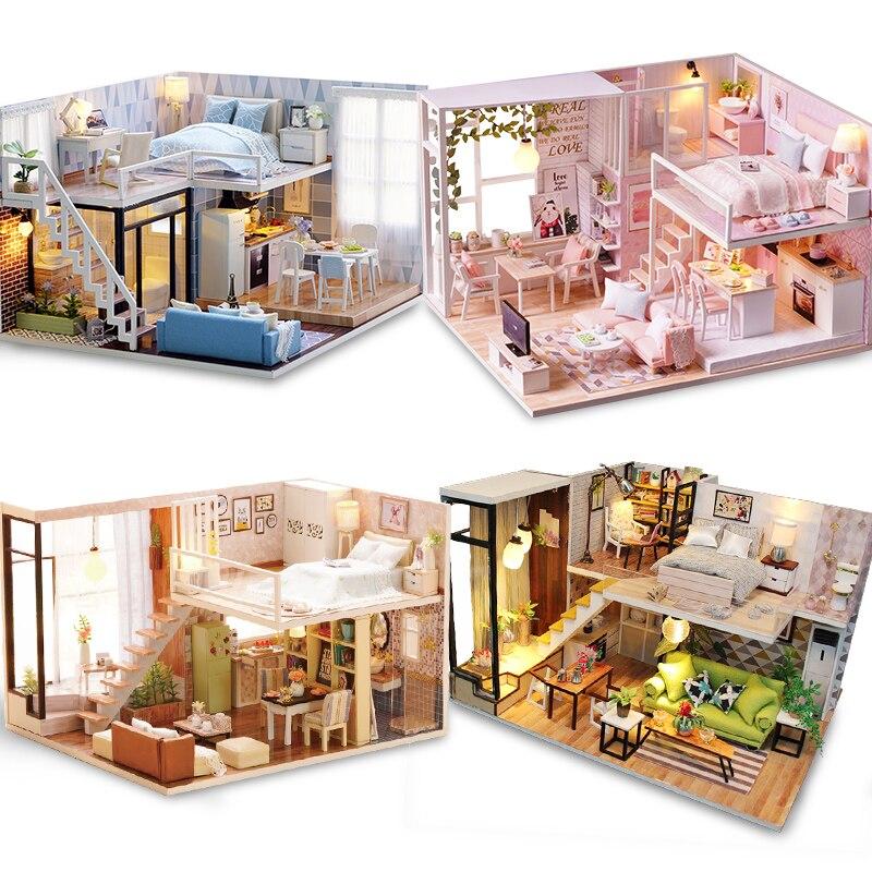 DIY Model Doll House Miniature DollHouse Furniture LED Light 3D Wooden Mini Dollhouse Handmade Gift Toys For Children L023 #E