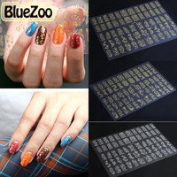 BlueZoo 8 pcs/pack Gold And Silver Flowers Sticker & Decal 3D Nail Art Decorations Nail Stickers Paste Manicure Tips 12.2cm*18cm