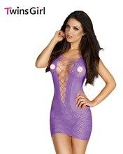 2017 New Sexy erotic lingerie 4 Colors Crotchet Mesh Hollow-out Mini Chemise Dress LC21440 pajamas for women Plus Size XXL