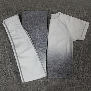 Image 4 - 2 adet Ombre enerji dikişsiz kadın spor takım elbise spor egzersiz kıyafetleri kısa kollu spor kırpma üst ve ezme popo tayt Yoga seti