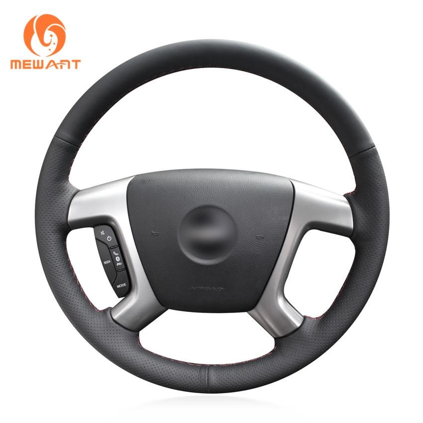 Black Genuine Leather Car Steering Wheel Cover for Chevrolet Captiva 2007-2014 Silverado GMC Sierra 2007-2013 Daewoo Winstorm schwinn sierra 1 womens 2014