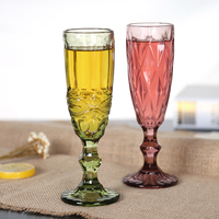 European retro relief Champagne Cup creative fruit juice glass goblet red wine glass wine set B