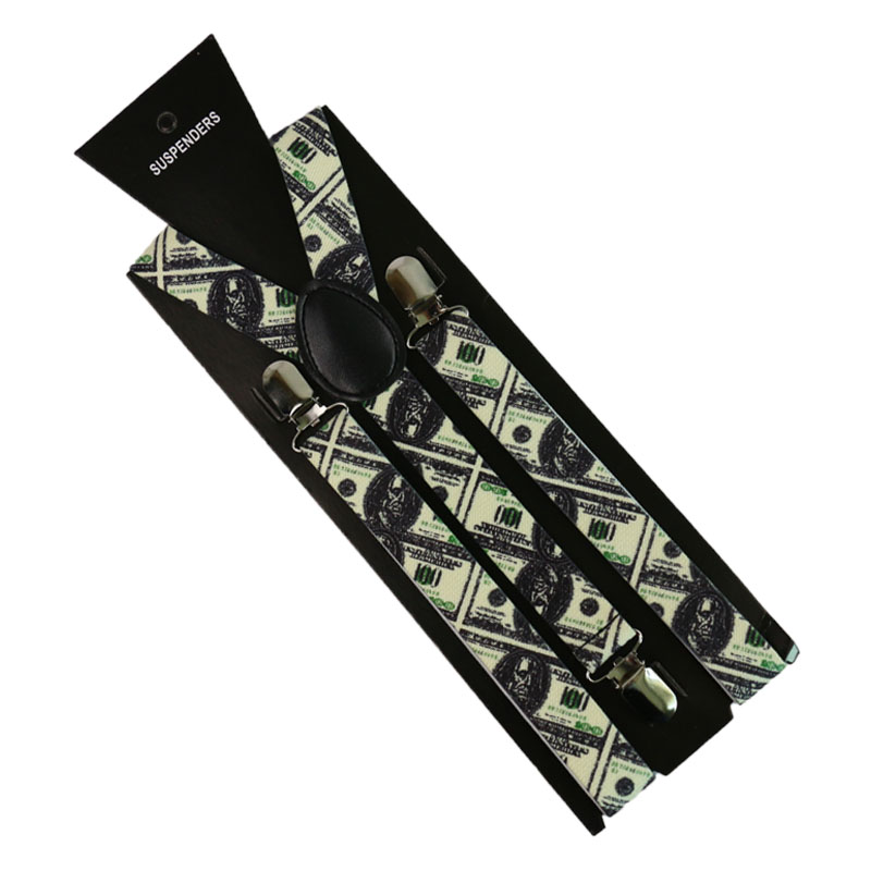 2.5cm/1inch Wide Dollar Pattern Printing Suspender 3 Clip Y-Back Clip-on  Elastic Braces Suspenders For Men Women Suspenders