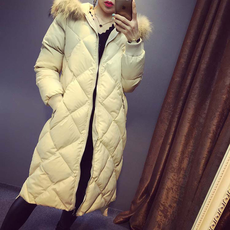 Down cotton long section of the side slit hat real hair Cotton Jacket women winter coat Y231