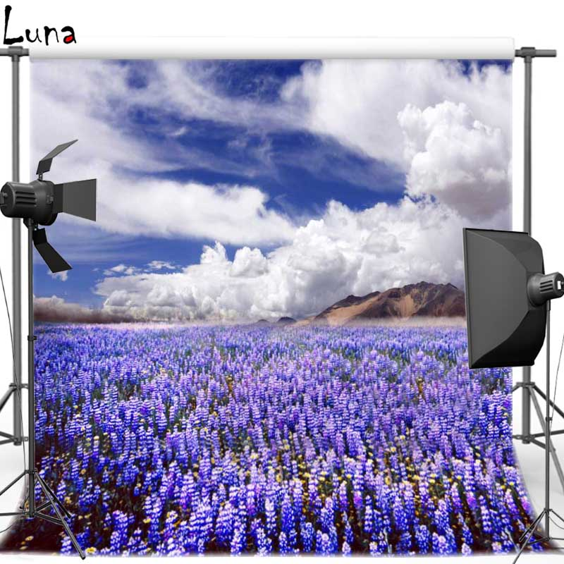 Vinyl Cloth Backdrops Purple Floral White Cloud Blue Sky Photography Background for photo studio Free shipping F1034 retro background christmas photo props photography screen backdrops for children vinyl 7x5ft or 5x3ft christmas033
