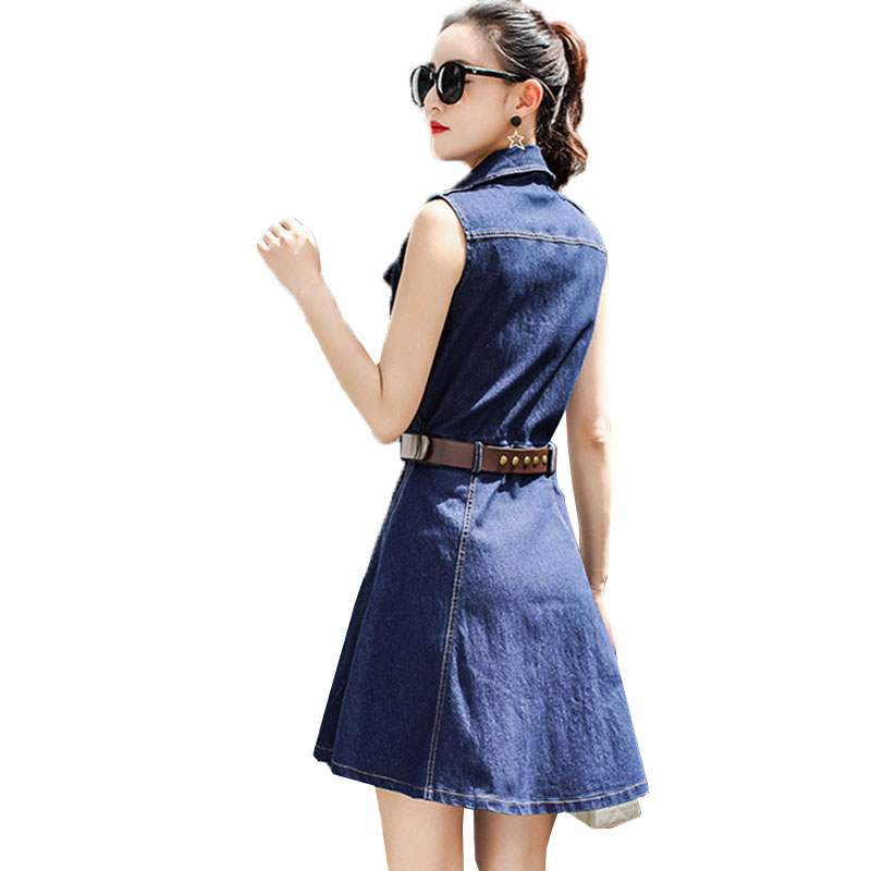 25ed29dabad44 Plus size Summer Denim Dresses Women 2019 new sleeveless Slim Thin party  dress Vestidos Basic Female Jeans Dress robe femme LJ46-in Dresses from  Women s ...