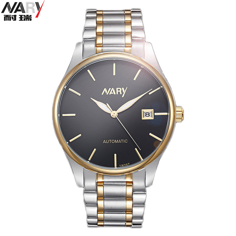 NARY Gold Mechanical Men Wrist Watch Top Brand Luxury Automatic Clock Man Stainless Steel Skeleton Reloj Hombre Calendar Watches men luxury automatic mechanical watch fashion calendar waterproof watches men top brand stainless steel wristwatches clock gift