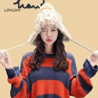 Hooded hat female autumn winter Lei Feng hat Korean version of the warm thickening plus velvet knitted hat rabbit hair ball wool