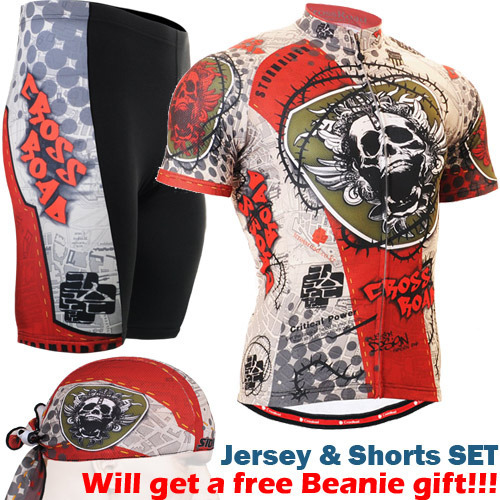 ФОТО 2016 summer men cycling wear New Quick dry Ciclismo Jerseys skulls printed Bicycle Sports Short Sleeve Shorts Sport Clothes Men