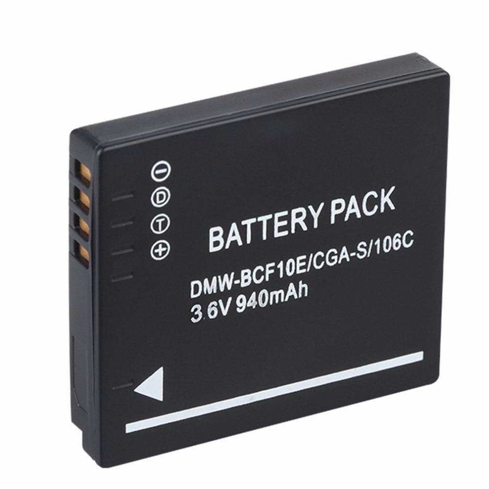 цена на 940MAH Battery for Panasonic Lumix Camera CGA-S/106C CGA-S/106D /106B DE-A59B DE-A60B DMW-BCF10E DMW BCF10E DMWBCF10E DMC-F2