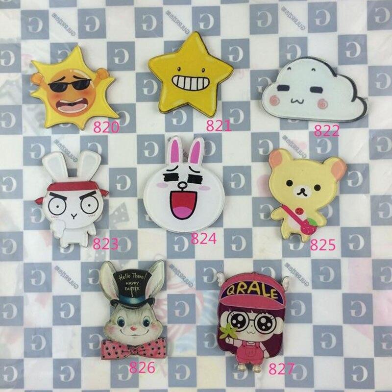 Acrylic Badge HARAJUKU Sun Iittle Stars Rabbit Brooches for Women Pin Up Clip Collar Broche Gift XZ198
