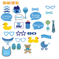 32pcs Cute DIY Baby Shower Boy Kid Milk Bottle Blue Baptism Beard Decoration Event Birthday Party