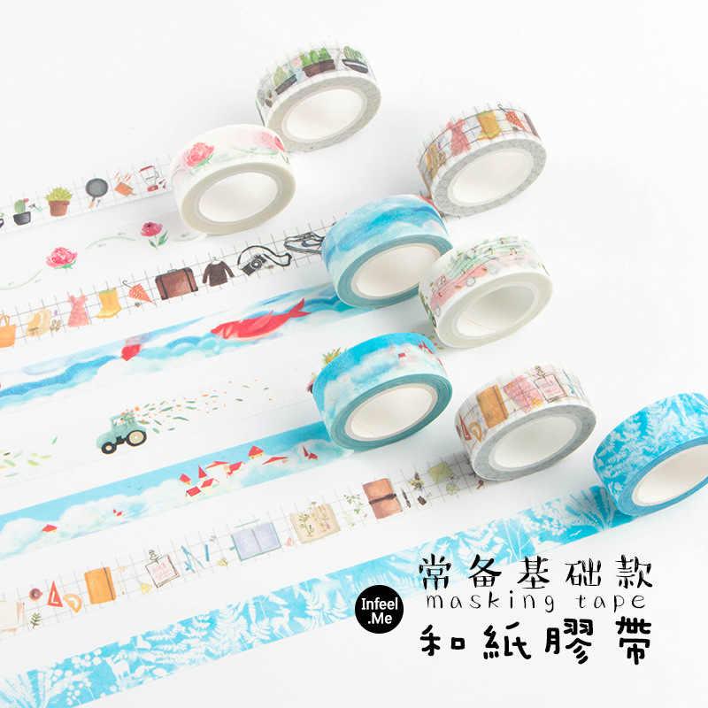Lindo viaje Washi cinta Kawaii rejilla Scrapbooking cinta adhesiva decorativa cinta diario Oficina japonés papelería