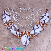 Luxurious White Natural Stone Red Garnet 925 Sterling Silver Overlay High Quality Grade Fashion Jewelry Necklace