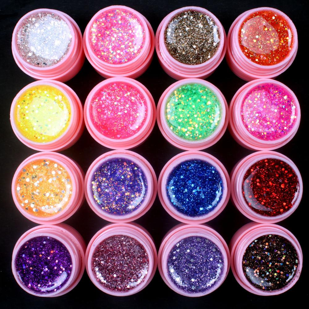 UVGL045-16 Pcs Mix Color Glitter Hexagon Sheet Nail Art UV Builder Gel
