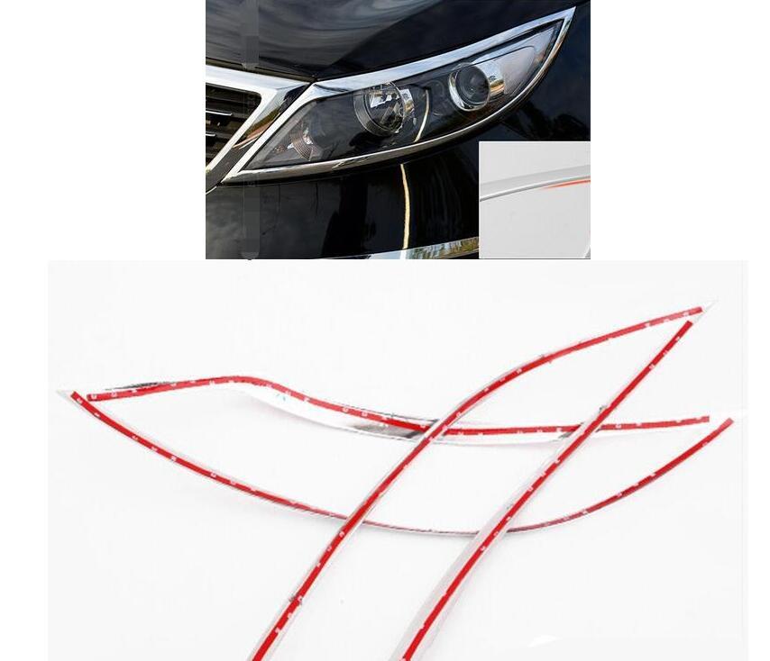 For Kia Sportage R 2010 2011 2012 2013 2014  Car Auto Accessory Front Lamp Cover Headlight Cover Trim Abs Chrome 2pcs Per Set for renault kadjar 2016 abs chrome front headlight lamp cover trim headlamp covers 2pcs set