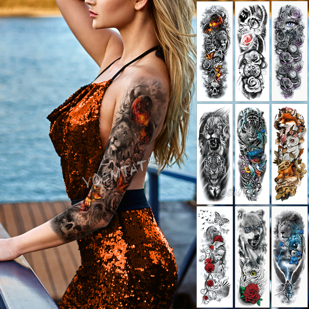 Large Arm Sleeve Tattoo Flame Planet Moon Waterproof Temporary Tattoo Sticker Burning Butterfly Skull Men Full Tatoo Women