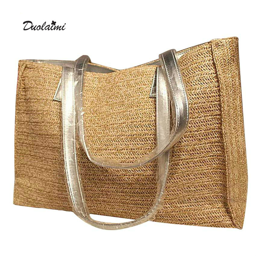 Big Straw Tote Bag Silver Leather Strap Women Shoulder Bag Weave Summer Beach Bag Travel Lady Handbag 30X