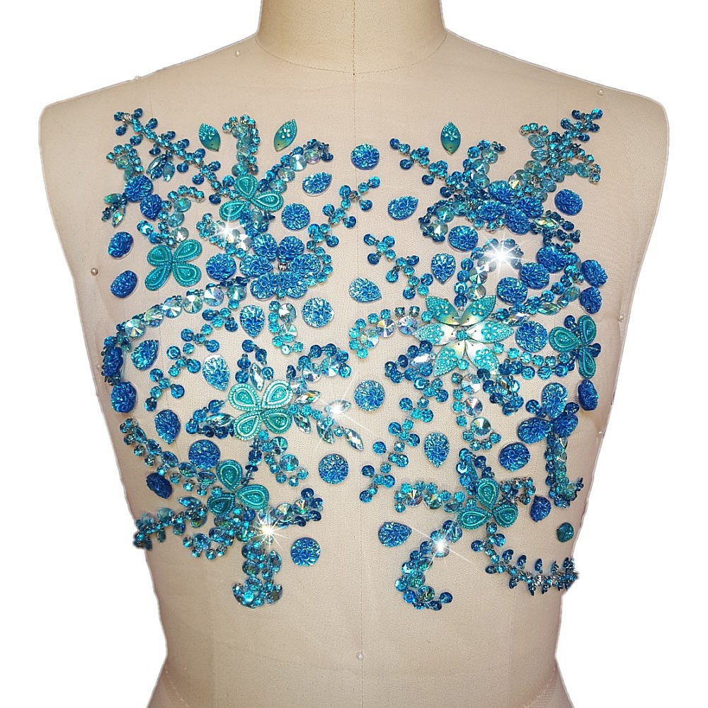 HAND Beaded Bright Patches Appliques Sew on Wedding Clothes Blue Rhinestone Crystal Trim Sewing For Dresses 27x31cm Designer Diy