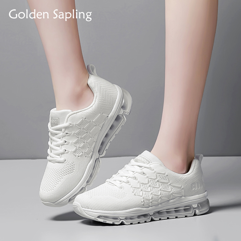 Golden Sapling Female Running Shoes White Mesh Sneakers Women Air Cushion Women's Sport Shoes Breathable Trainer Woman Sneakers цена