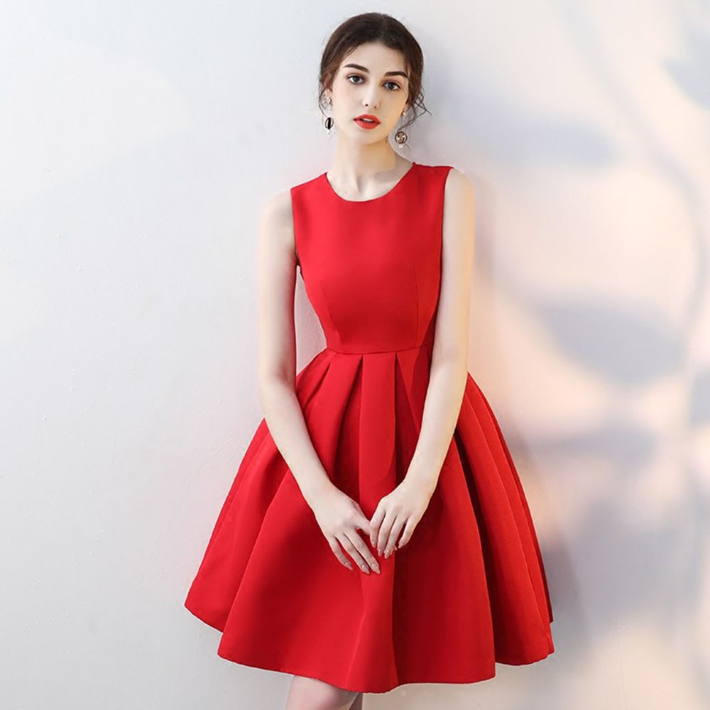 Sleeveless Prom Gown Sexy Short Dresses Cocktail Elegant Women Formal Party Dress With Bow Red A-line  Robe De Soiree