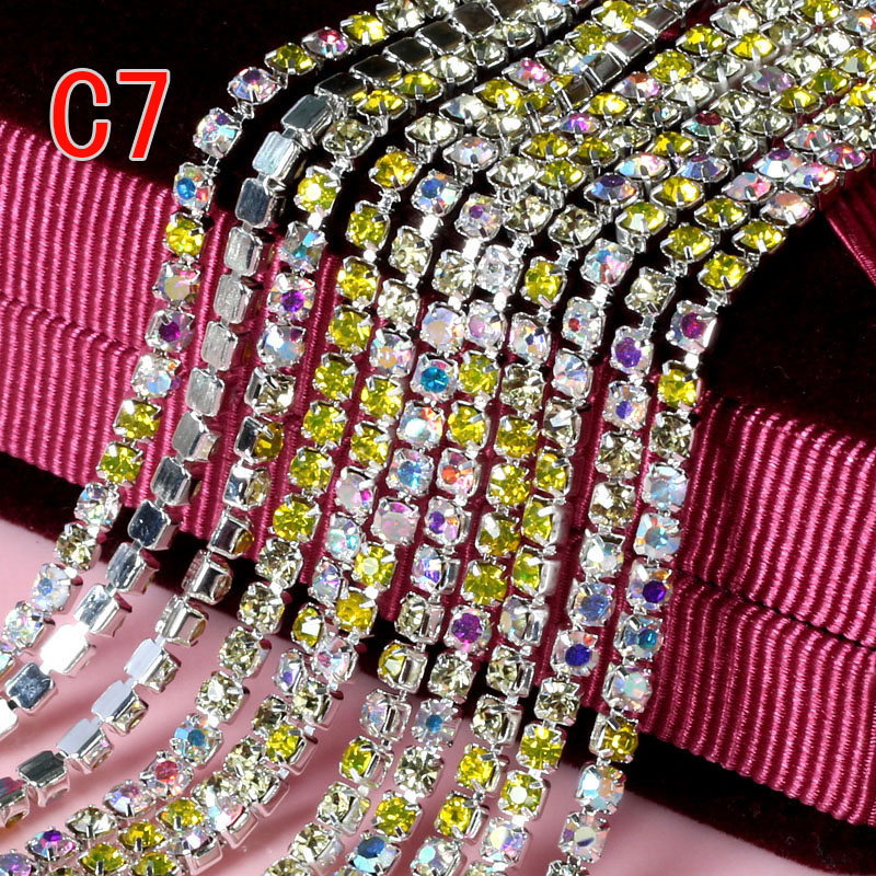 Srebrna podstawa Bezbarwny kryształ 3mm 10 jardów / rolka - Sztuka, rękodzieło i szycie - Zdjęcie 2